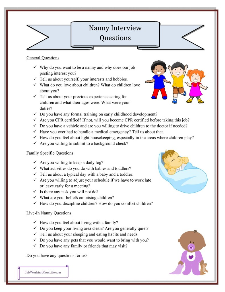 Free Nanny Printables - Nanny Interview Questions Checklist