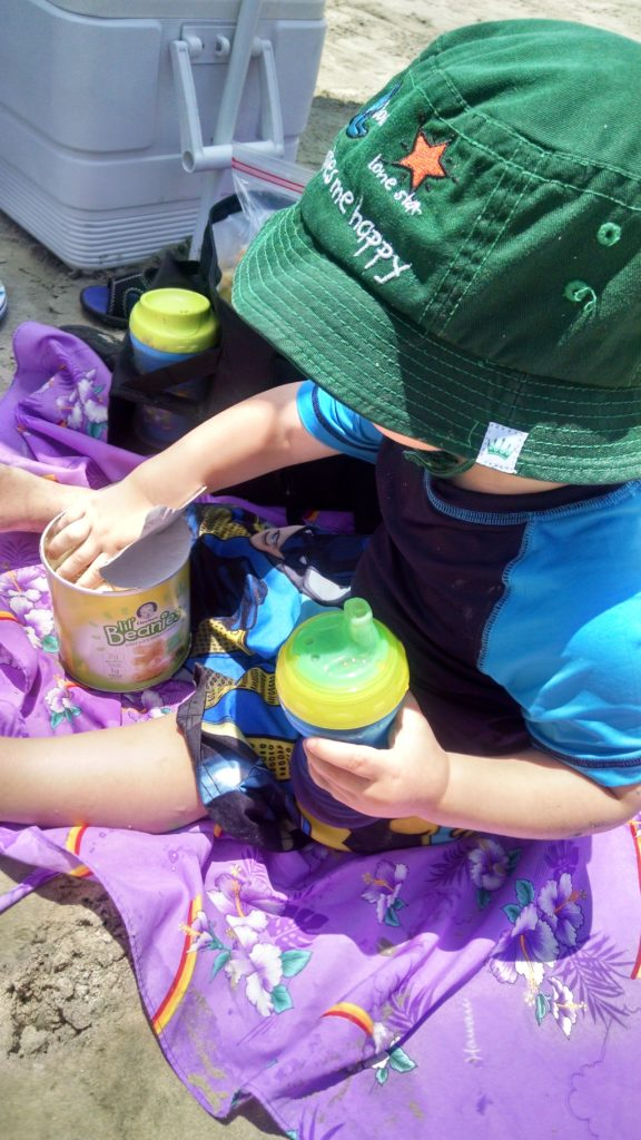 Beach with Toddler snack time yum lil beanies