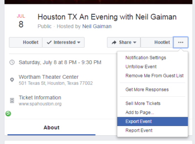 Export Facebook Event
