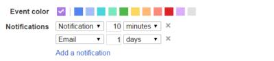 Google calendar app notification