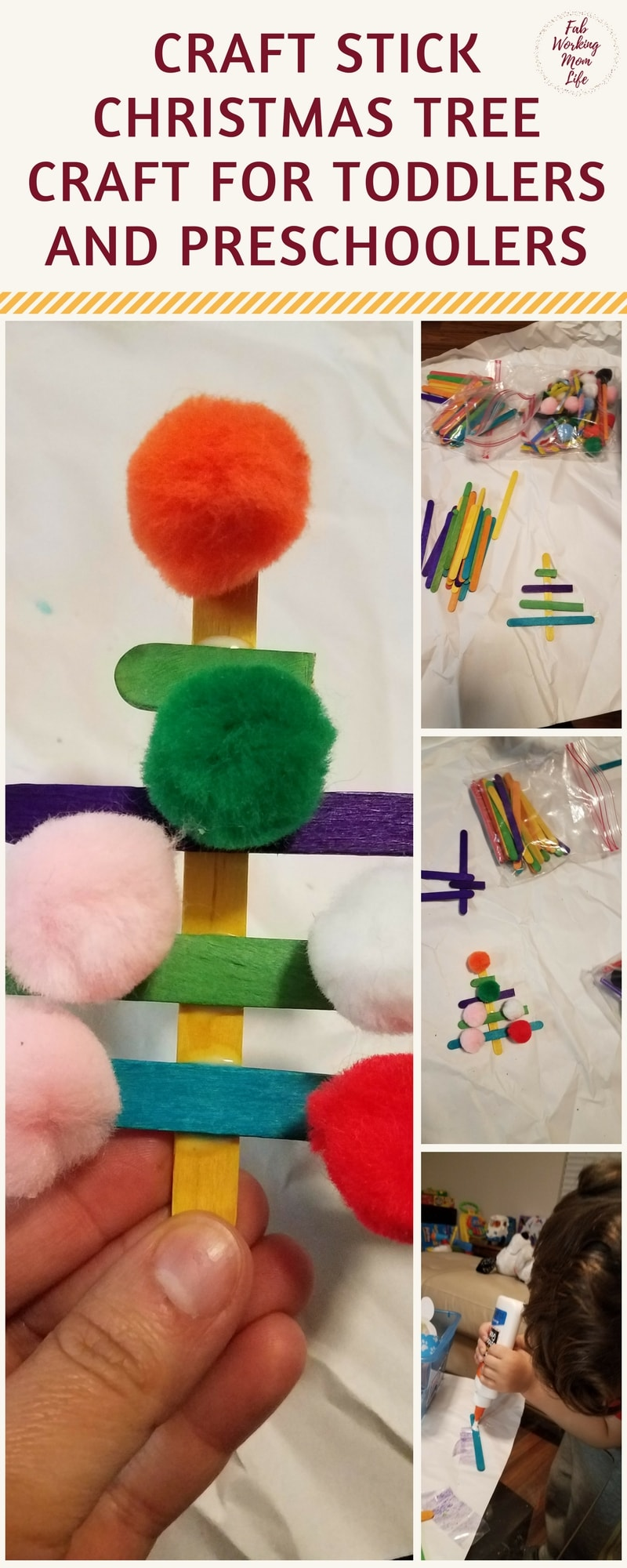 Craft stick christmas tree and other simple winter crafts for F crafts for toddlers