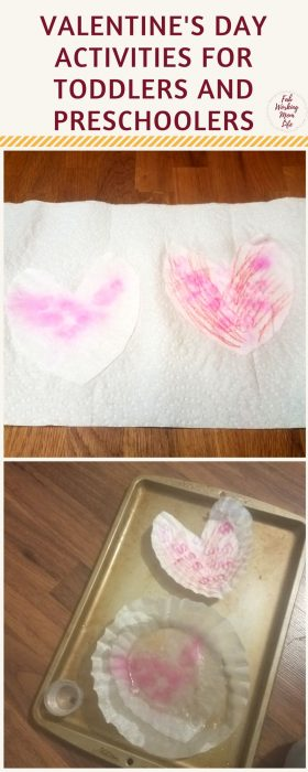 Valentines Day Activities your Toddlers and Preschoolers will Love - Coffee Filter Hearts #valentinescrafts #toddleractivity #preschoolactivity