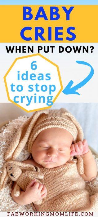 baby cries when put down