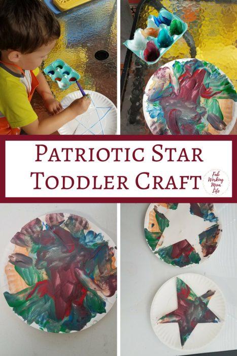 Patriotic Star Craft for Toddlers and Preschoolers | Fab Working Mom Life | #toddlers #preschoolers| parenting, motherhood, raising toddlers, raising preschoolers, teaching toddlers, teaching preschoolers, totschool, tot school