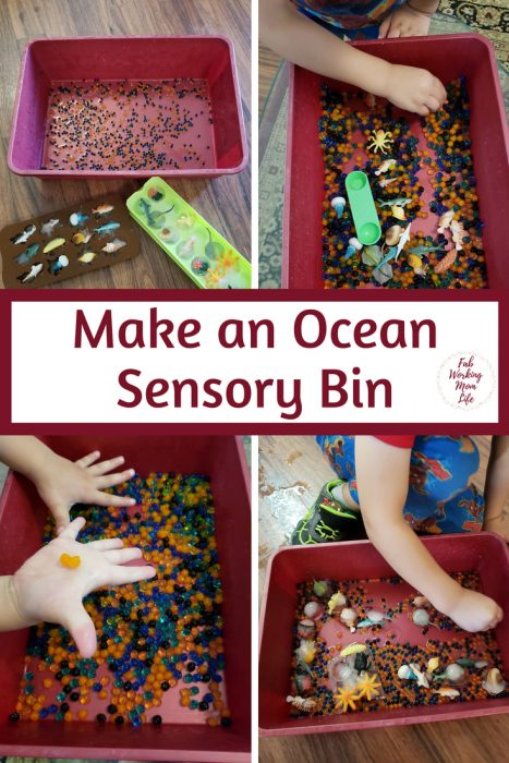 Ocean Sensory Bin for Toddlers and Preschoolers | Fab Working Mom Life #sensorybin #sensoryplay #toddlers #preschoolers #parenting #toddleractivities #sharkweek #ocean