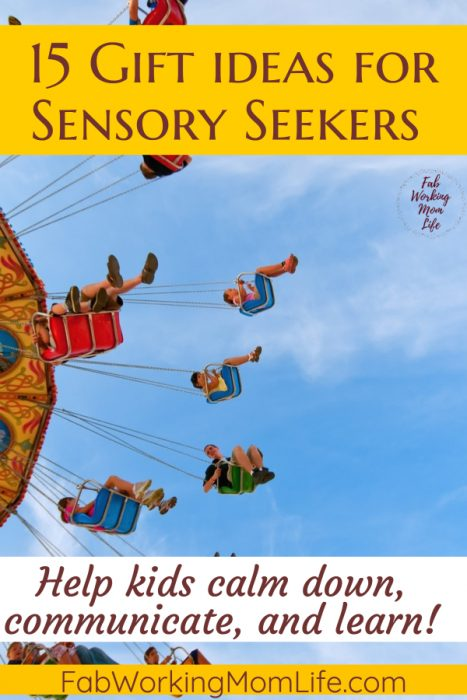 Searching for toys for sensory seekers? Check out this gift guide with 15 gift ideas for sensory seekers and sensory toys that provide Sensory Input for Hyper toddlers and preschoolers! | Fab Working Mom Life #sensory #giftideas #giftguide #adhd #vestibular #proproceptive #parenting #momadvice