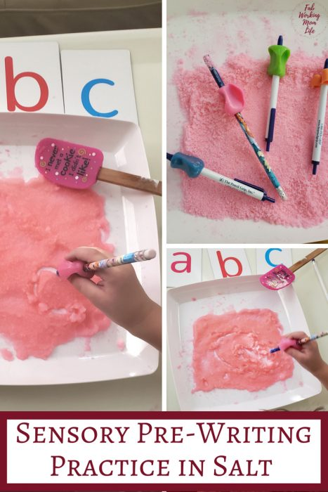 Pre-Writing Practice in Colored Salt with Preschoolers   Fab Working Mom Life #sensory #preschool This activity helps teach preschoolers proper pencil technique for future writing and provides a great sensory input activity too