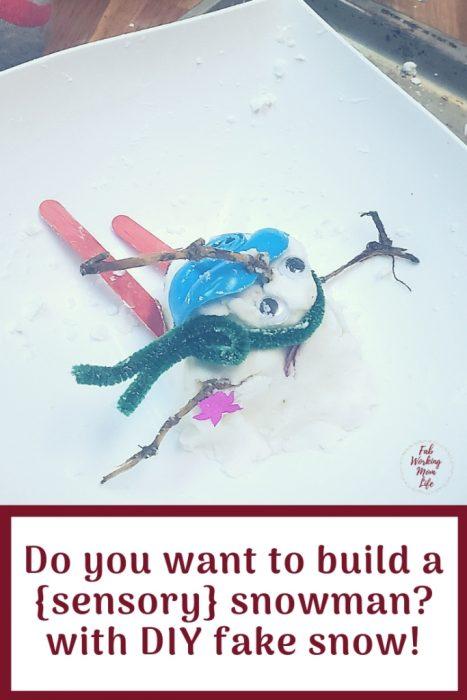 Do you want to Build a Sensory Snowman with fake snow?   Fab Working Mom Life #sensory #snowman #frozen #sensoryactivity #sensorycraft