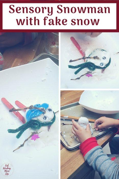 Build a Sensory Snowman with fake snow   Fab Working Mom Life #sensory #snowman #frozen #sensoryactivity #sensorycraft