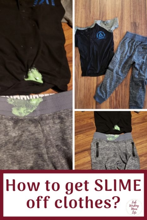 How To Get Slime Off Clothes? When your child loves to play with sensory slime but gets it all over their clothes, here's an easy way to get slime off clothes. | Fab Working Mom Life #slime #sensory #cleanup