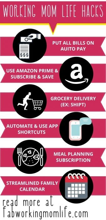 working mom life hacks infographic