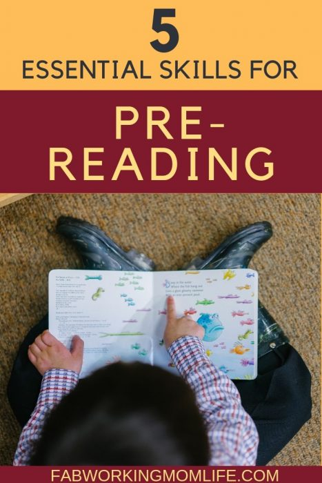 pre-reading skills for kindergarten