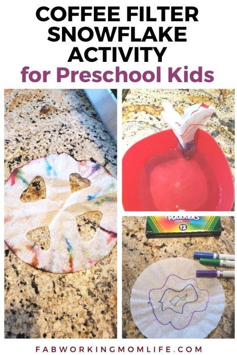 Coffee Filter Snowflake Activity for Preschool Kids