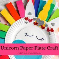 Rainbow Unicorn paper plate craft {Preschool Craft}