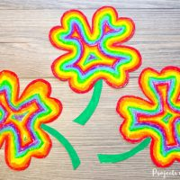 Easy Rainbow Shamrock Craft with Oil Pastels