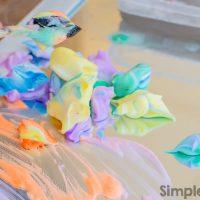 Rainbow Shaving Cream Paint on the Mirror