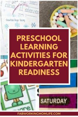 preschool learning activities for kindergarten