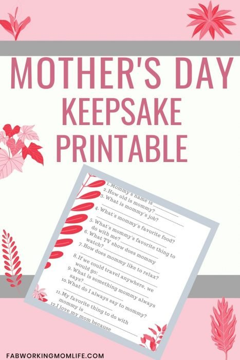 all about mom printable - mother's day keepsake