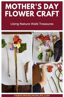 mother's day flower craft with nature walk treasures