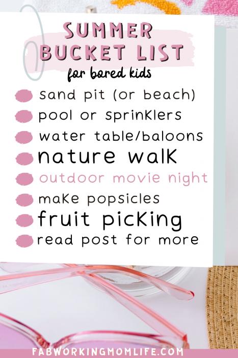 summer bucket list for bored kids list