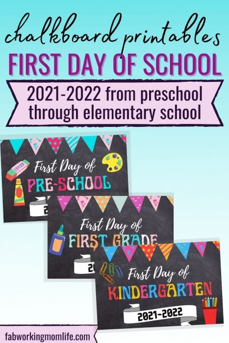 first day of school chalkboard printables set