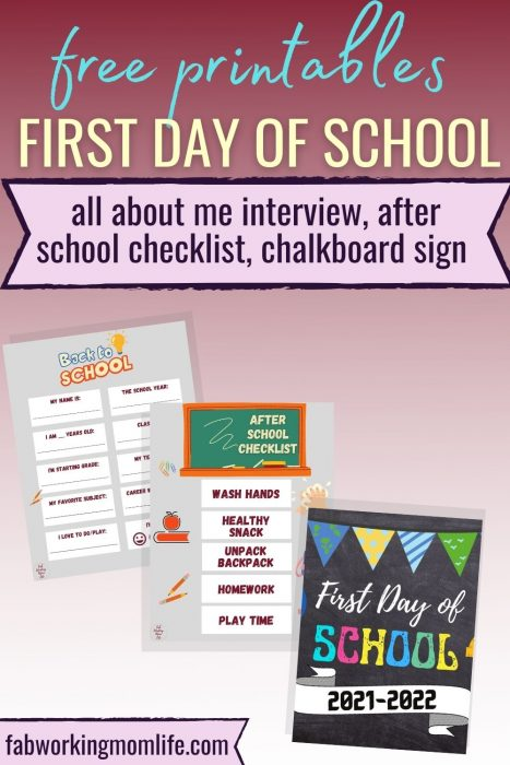 first day of school free printables interview all about me after school routine checklist chalkboard sign