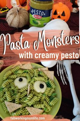 Halloween pasta monsters with creamy pesto